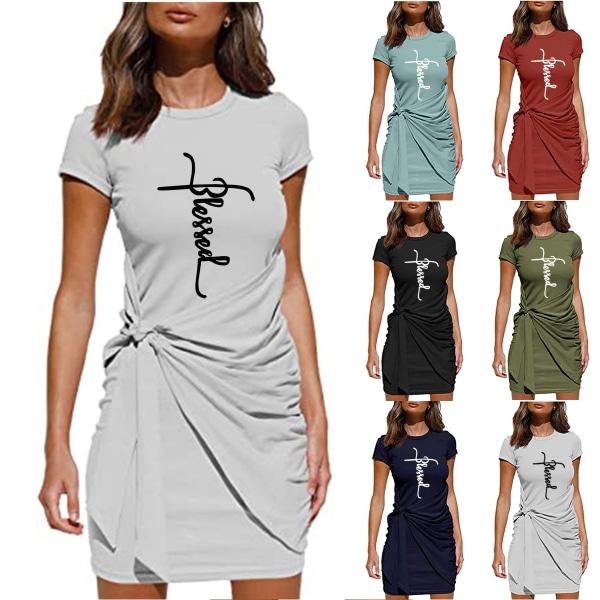 Kvinnor kort ärm Crew Neck blommig kort klänning tunika klänningar Army Green XL