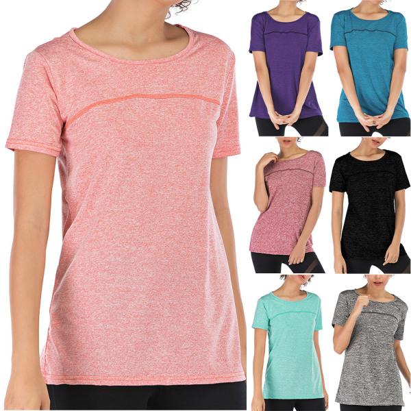 Kvinnor kortärmad yogaträningströja Tröjor T-shirttröja Black M