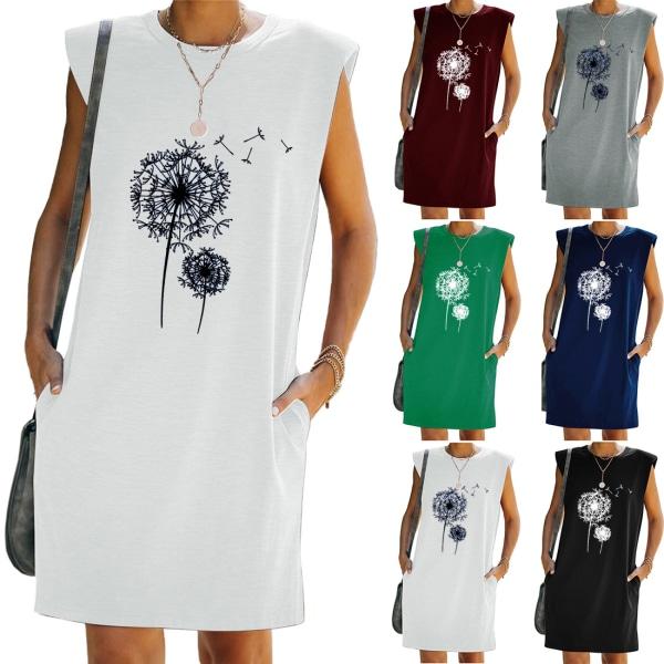 Kvinnor ärmlös mini klänning tryckta fickor Beach klänningar Black 2XL