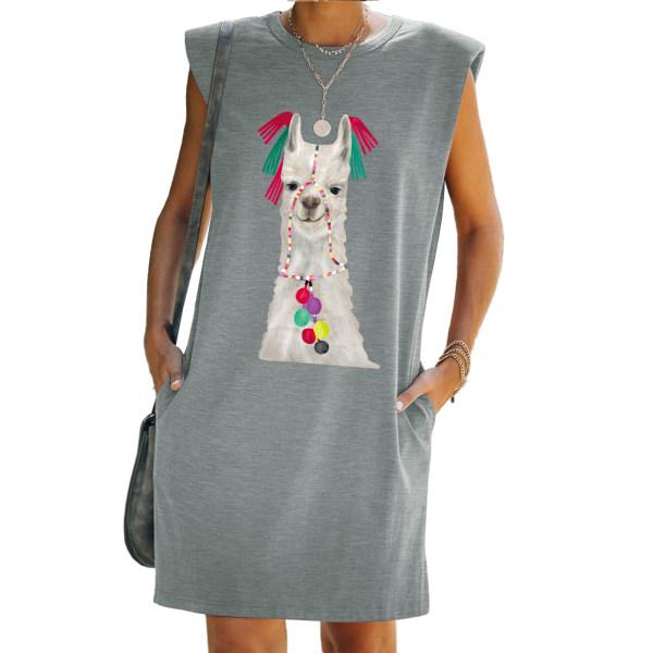 Kvinnor Ärmlös Får Print Tank T-Shirt Klänning Mini Sundress Grey 2XL
