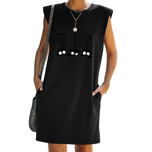 Kvinnor ärmlös T-shirt klänning lös tunika tank väst sundress Black XL