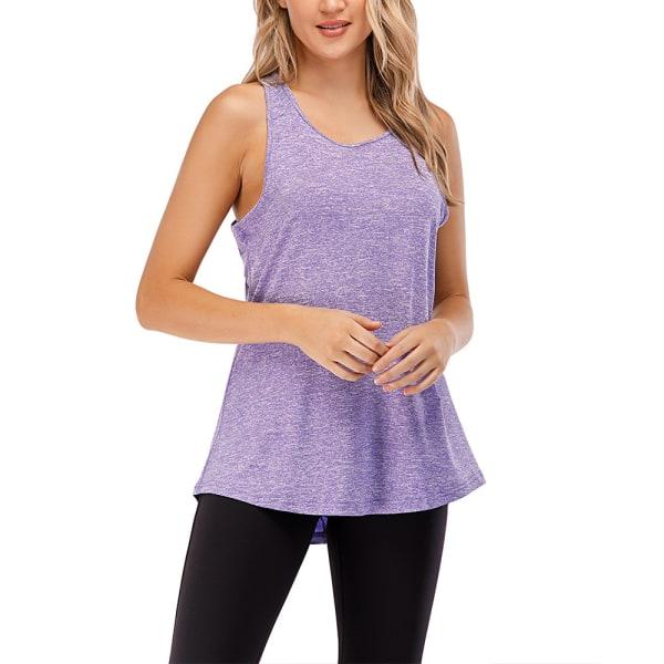 Kvinnor Ärmlös Väst Yoga Sport Gym Top Plain Shirt Purple M