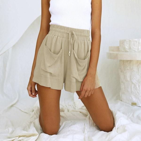 Kvinnor Solid hög midja shorts sommarfickor halvbyxor Blue L