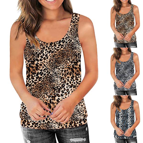 Kvinnor Sommar Casual Bekväm ärmlös leopardlinne White XL