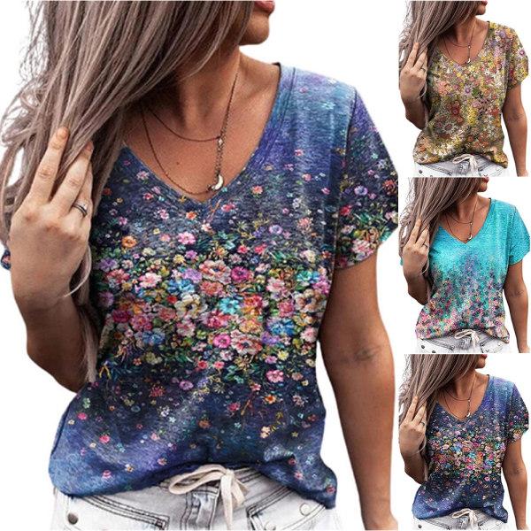 Kvinnor Sommar Casual T-shirt Kortärmade T-Shirts Flower Street Tops Blue S