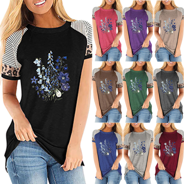 Kvinnor sommar blommig t-shirt toppar leopard casual blus