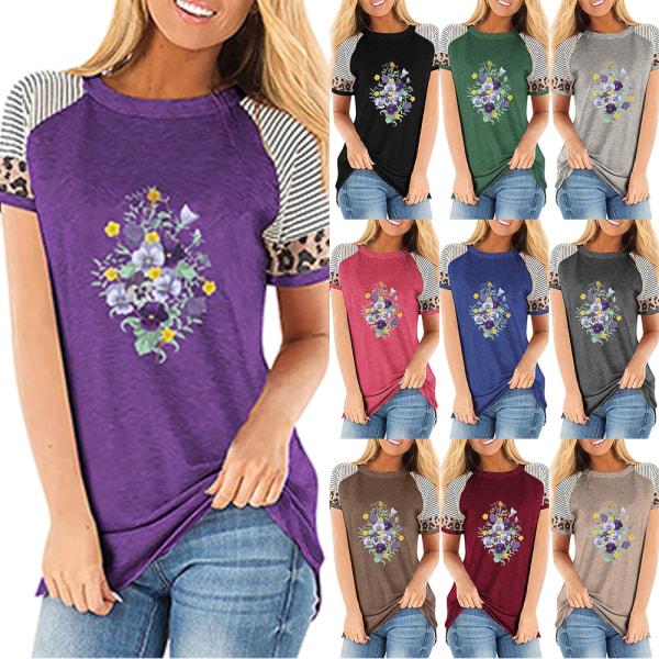 Kvinnor Sommarblommiga T-shirts Toppar Leopard Casual Blus T-shirt