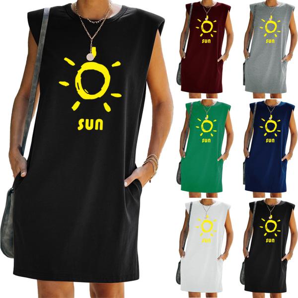 Kvinnor Tunika Shift T-Shirt Väst Tank Klänning Ärmlös Sundress Dark Cyan XL