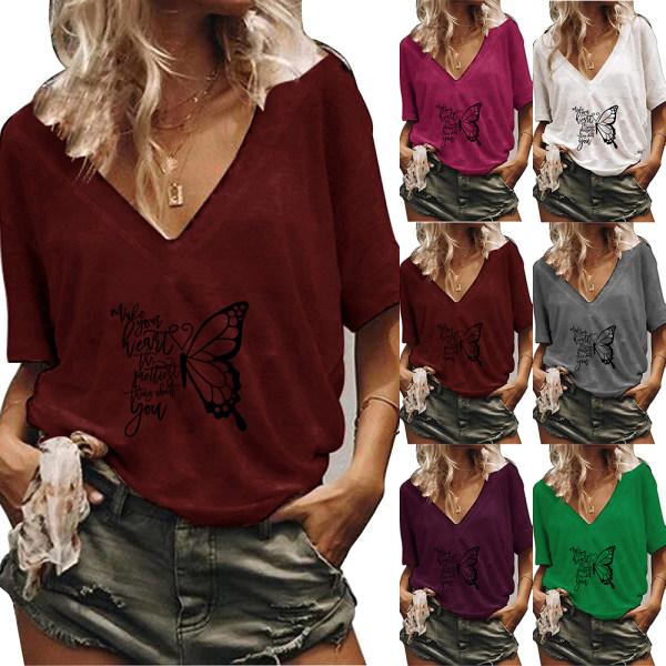 Kvinnor V-ringad kort ärm Casual fjäril blommig T-shirt toppar