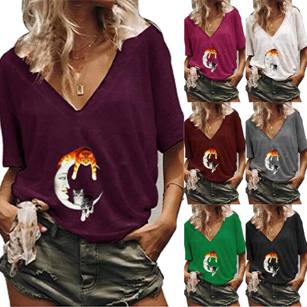 Kvinnor V-ringad kort ärm Moon & Cat T-shirt Blus Toppar