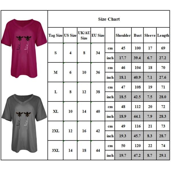 Kvinnor V-ringad kortärmad sommar-t-shirt Bee Fritids Basic Tops Grey L