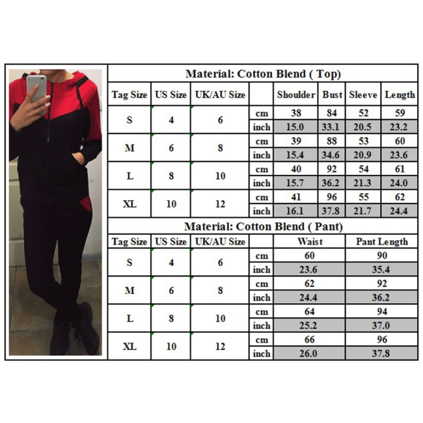 Kvinnors 2-delade tröjor Träningsoveraller Huvset Red L