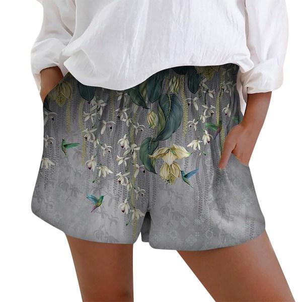 Kvinnors elastiska midja blommiga kortbyxor Casual sommarstrand Grey M