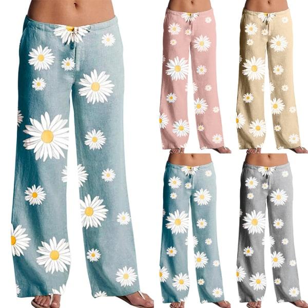 Kvinnors blommiga elastiska midjeband Daisy Print Wide Leg Pants Pink 2XL