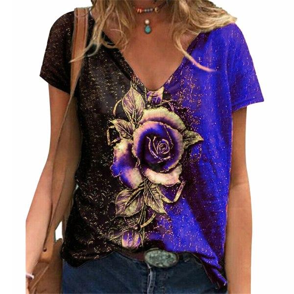 Damblommatröja V-ringad sommarblus T-shirt Basic skjorta Blue 5XL