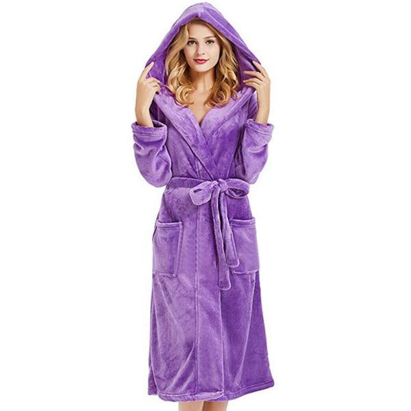 Dambadrock Fleece Badkläder Nattklänning Bekväm Purple 3XL
