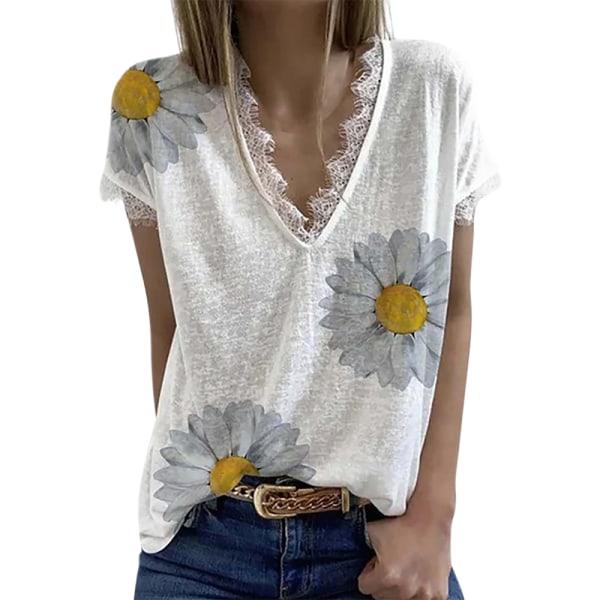 Kvinnors spetsblommiga kortärmad blus Casual T-shirt topp White 3XL