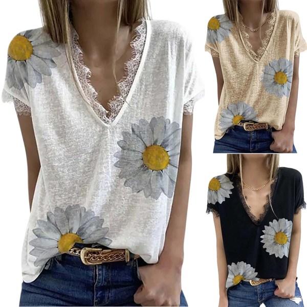 Kvinnors spetsblommiga kortärmad blus Casual T-shirt topp White L