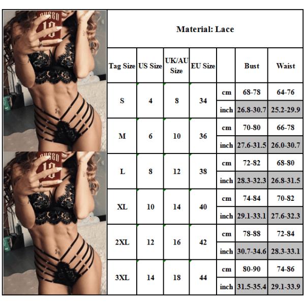 Kvinnors Sexiga Bh Underklädesset Blommiga Strängbandage XL