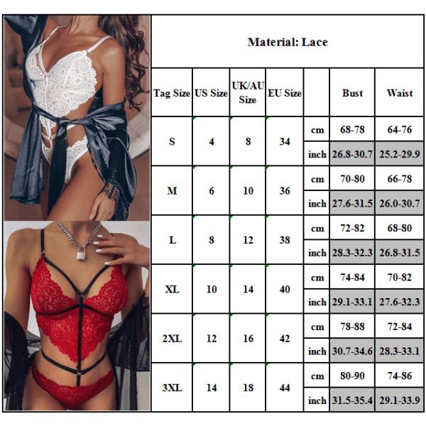 Kvinnors Sexiga Set Bodysuit Thong Underwear Nightwear White XL