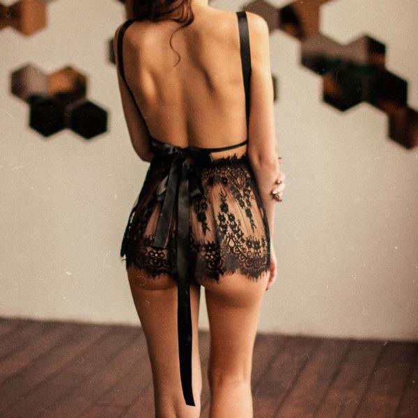 Kvinnors Sexiga Urringade Underkläder Rygglösa Nattkläder L
