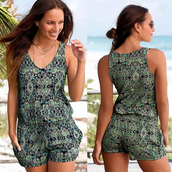 Kvinnors sommar kort jumpsuit blommig ärmlös tankväst L