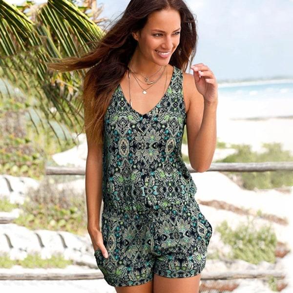 Kvinnors sommar kort jumpsuit blommig ärmlös tankväst 2XL