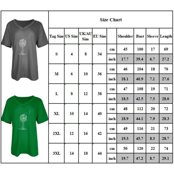 Kvinnors sommar kortärmad V-ringning Plant T-shirt toppar White 3XL