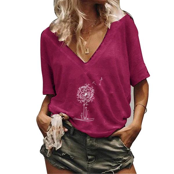 Kvinnors sommar kortärmad V-ringning Plant T-shirt toppar Red 2XL