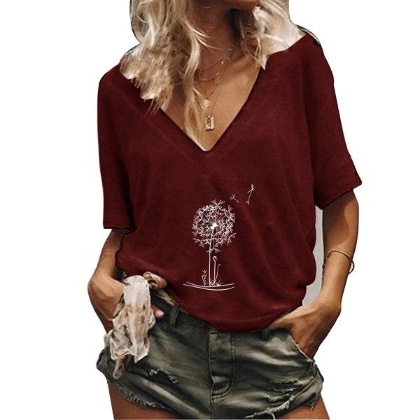 Kvinnors sommar kortärmad V-ringning Plant T-shirt toppar Wine Red XL