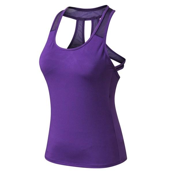 Träningströjor Kvinnor Yoga träningsgymnastikskjortor Purple XL