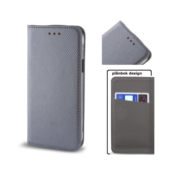 Huawei P10 Plus - Smart Magnet Fodral, Flip Case Mobilplånbok Silvergrå