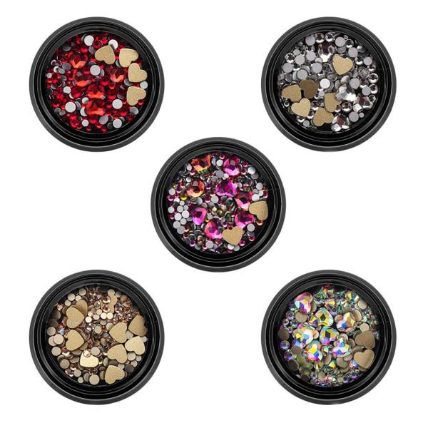 Nail Glitter Paljetter Mixed AB Rhinestone Crystal Pärlor