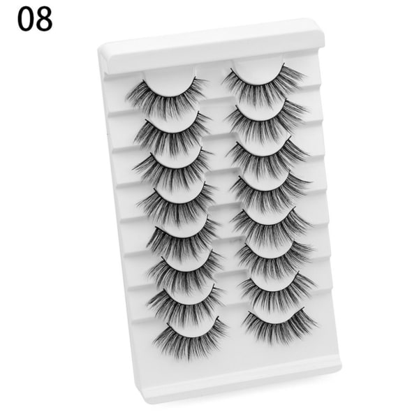 SKONHED 8 par falska ögonfransar Lash Extension 3D Mink Hair 08