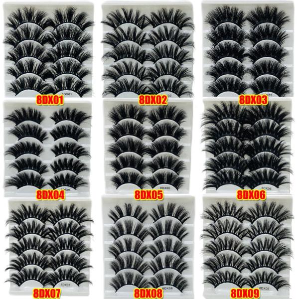 Falska ögonfransar 8D Mink hår tjock lång 8DX02
