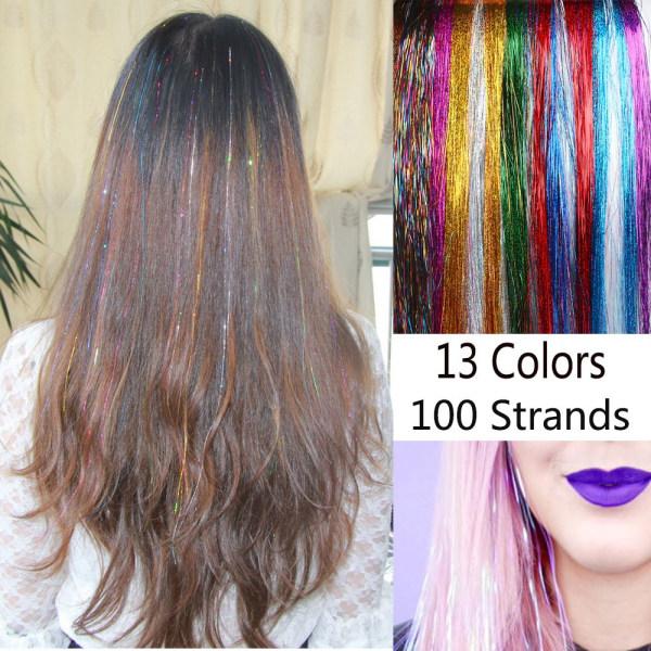 100 Strands Hair Extension Hair Tinsel Bling Silk 09