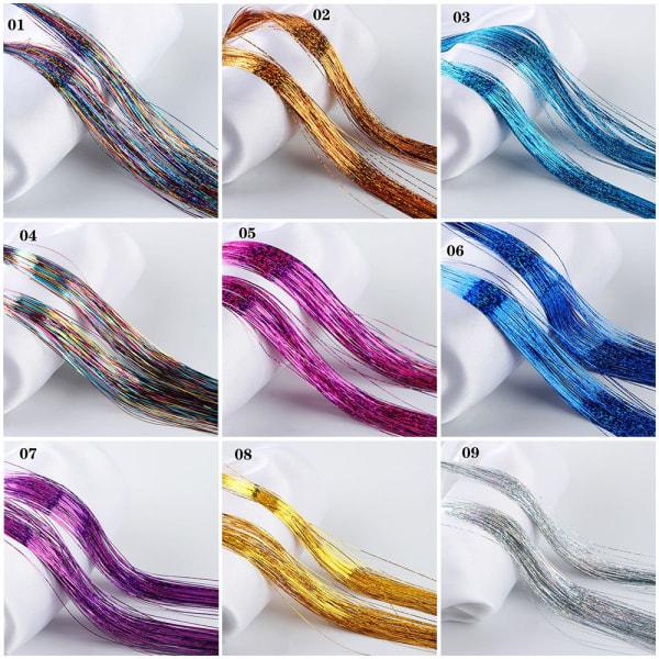 100 Strands Hair Extension Hair Tinsel Bling Silk 01