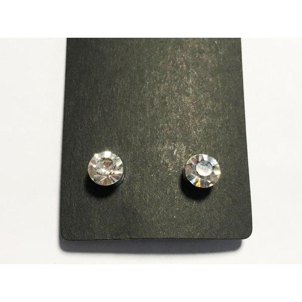 Magnet örhängen med sten (vit rund sten) silver 7mm