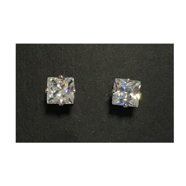 Magnet örhängen med stenar (fyrkantiga stenar) silver 6mm