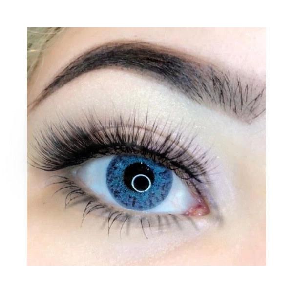 Linser för bruna / mörka ögon. Med linsetui. Brilliantblå-Brilliant blue