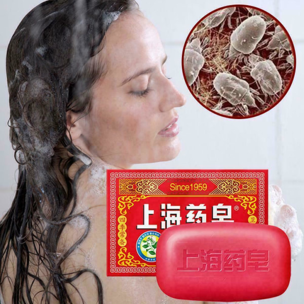 1 * Shanghai Herbal Cooling Soap Antifungal Bathing Cleaning Soap A red