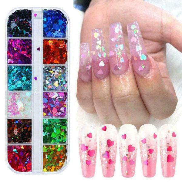 12 rutnät per naglar Decor Nail Art Glitter Powder Paljetter