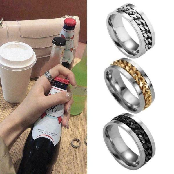 2IN1 RING ölflasköppnare rostfritt stål finger tumme