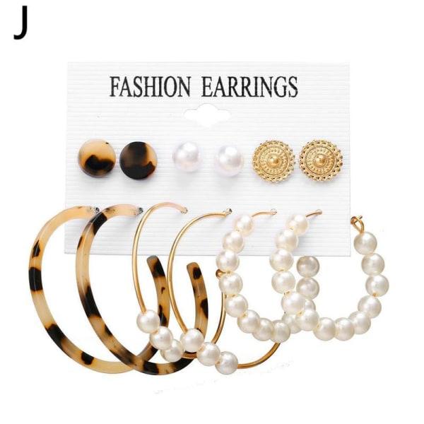 6/9 par set trendiga örhängen akryl pärla cirkel tofs J 2  beige leopard + 3 pearls