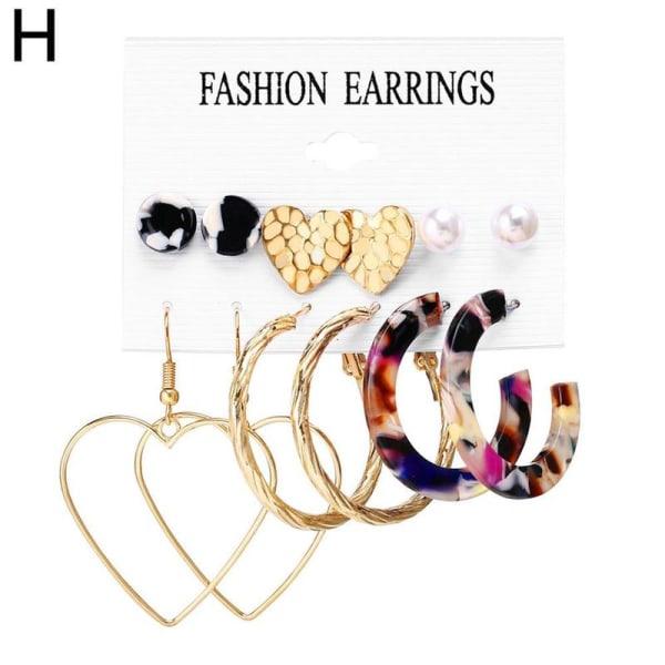 6/9 par set trendiga örhängen akryl pärla cirkel tofs H Color leopard 23