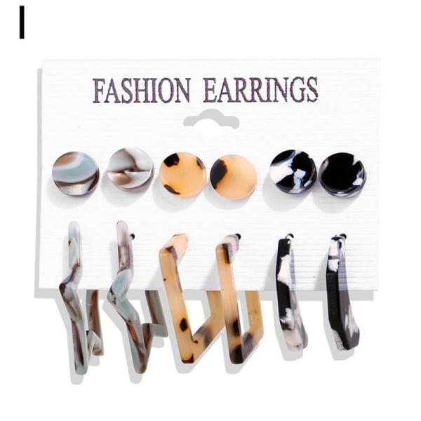 6/9 par set trendiga örhängen akryl pärla cirkel tofs I Full leopard print 24