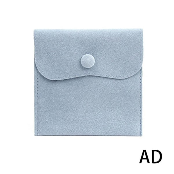 1* Velvet Snap Button Bag Smycken Förvaring Flanell Presentpåse D blue 10*10
