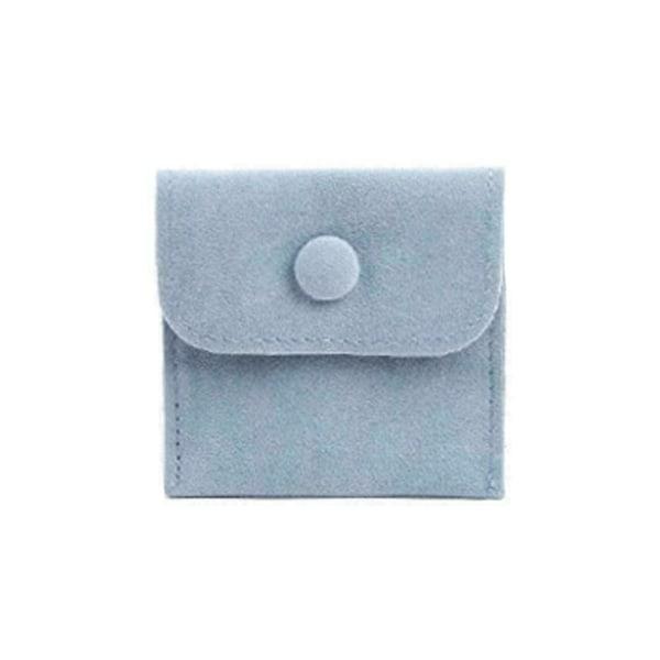 1* Velvet Snap Button Bag Smycken Förvaring Flanell Presentpåse B yellow 9.5*7.5