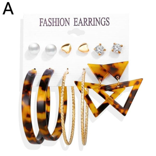 6/9 par set trendiga örhängen akryl pärla cirkel tofs A Triangle leopard 01