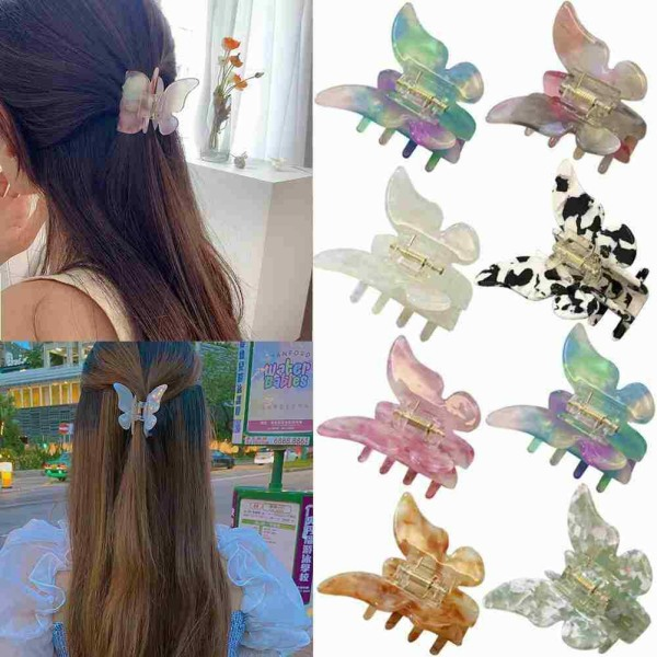 Kvinnor Butterfly Shape Hair Claw Banana Clip Hairpin Accessories D purple